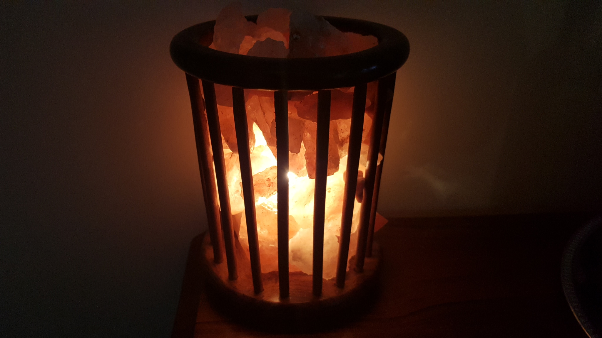 Rosewood Cage Lamp with 3-4kg Himalayan Salt Chunks